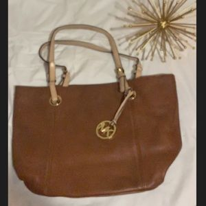 Authentic Michael kors brown leather purse
